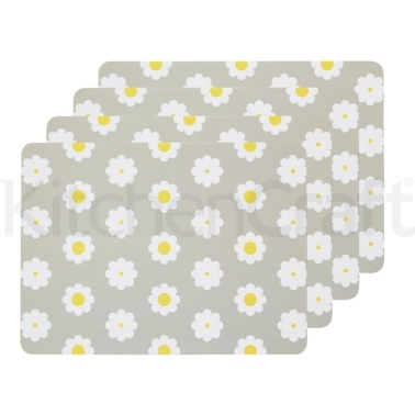 KitchenCraft Retro Flower Cork Back Laminated Set of 4 Placemats