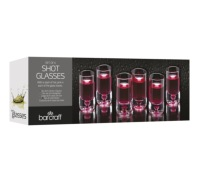 BarCraft Set of 6 Clear Glass Shot Glasses