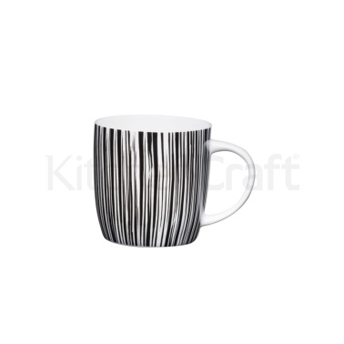 KitchenCraft Fine Bone China Tribal Multi Stripe Barrel Mug