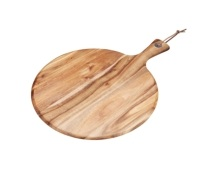 Natural Elements Acacia Wood Round Serving Paddle Board