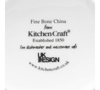 Kitchen Craft Fine Bone China Grey Fifties Floral Barrel Mug