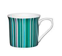 KitchenCraft Set of Four Fluted Fine Bone China Green Stripe Mugs
