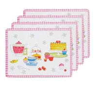 KitchenCraft Time for Tea Cork Back Laminated Set of 4 Placemats
