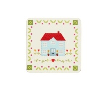 KitchenCraft Home Sweet Home Cork Back Laminated Set of 4 Coasters