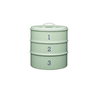 Living Nostalgia 3-Tier Metal Cake Storage Tin - English Sage Green