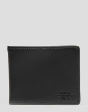 Globe Lateral Leather Wallet - Black