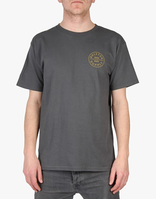 Brixton Oath SS T-Shirt - Charcoal/Gold