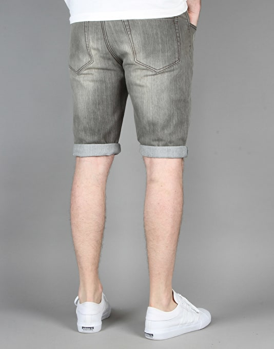 Route One Slim Denim Roll Up Shorts - Washed Grey