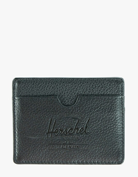 Herschel Supply Co. Charlie Leather Card Holder - Black Pebble