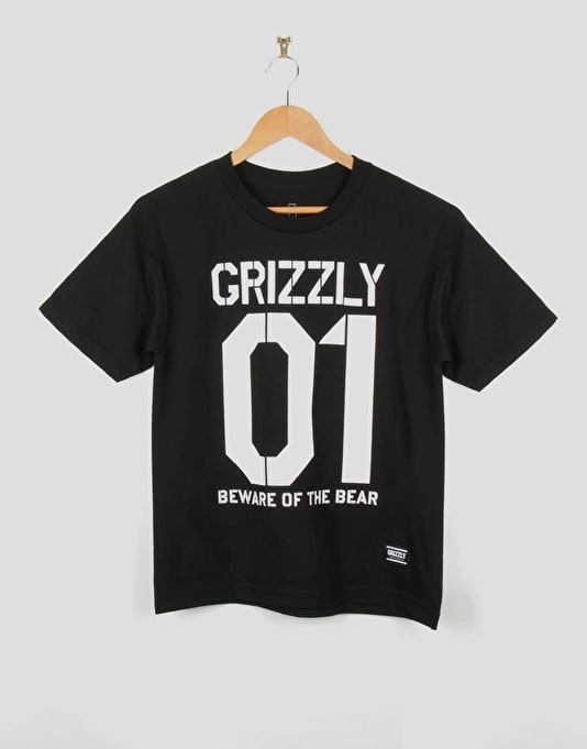 Grizzly Beware Stencil Cub Boys T-Shirt - Black