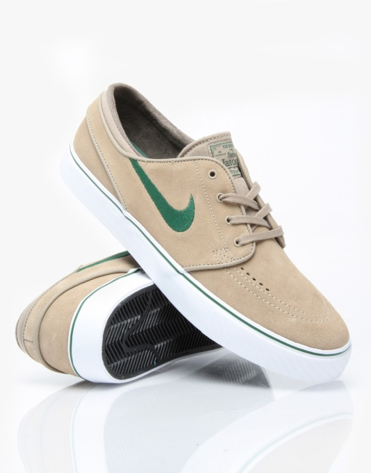 Nike SB Zoom Stefan Janoski Skate Shoes - Khaki/Gorge Green - White