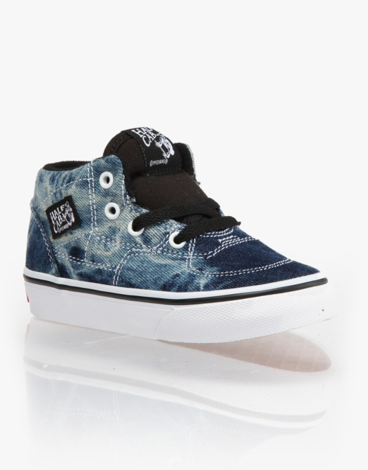 Vans Half Cab Toddlers Skate Shoes - (Acid Denim) Black/True White