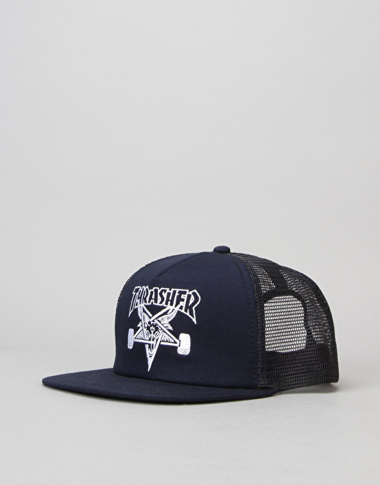 Thrasher SK8 Goat Embroidered Mesh Snapback Cap - Navy/White