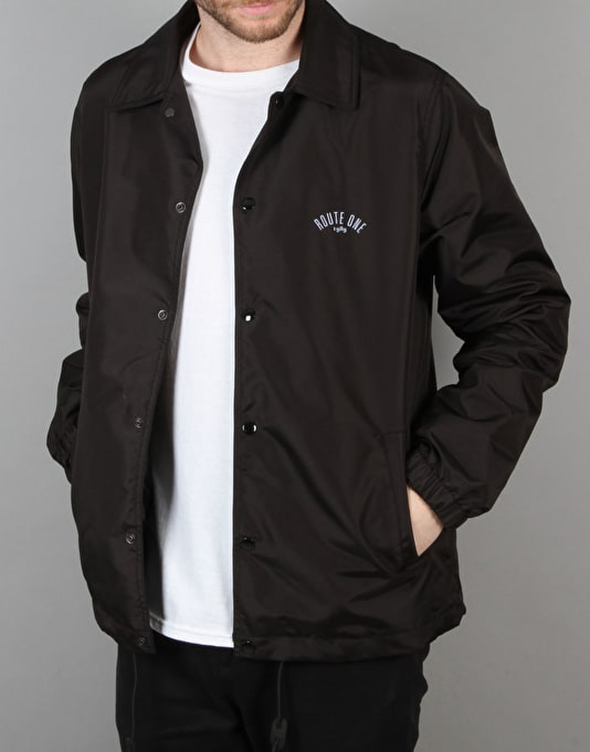 Route one coach jacket black casual jackets mens for Coach jacket