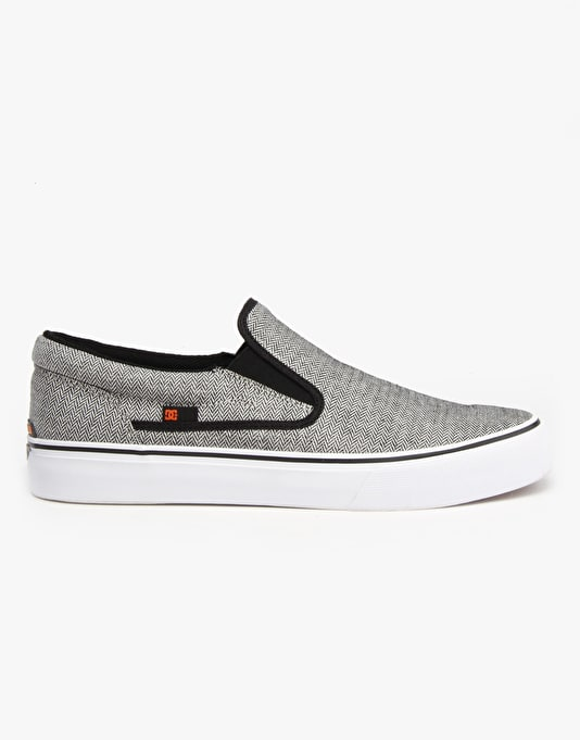 DC Trase Slip On TX SE Skate Shoes - Grey/Black/White