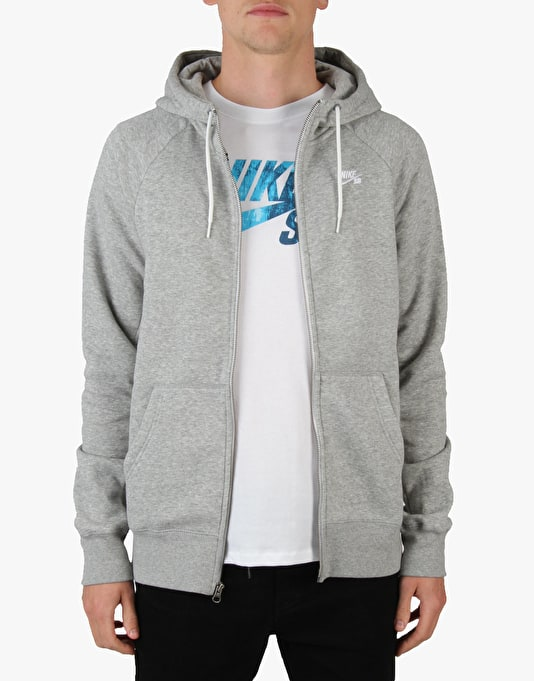 Nike SB Icon Full Zip Hoodie - Dk Grey Heather (White)
