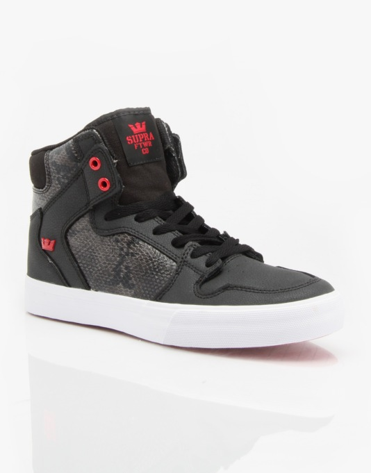 Supra Vaider Skate Shoes - Black/Red - White