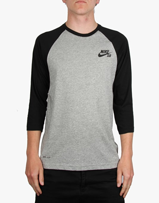 Nike SB Dri-FIT Three-Quarter Crew T-Shirt - Dk Grey Heather/Black