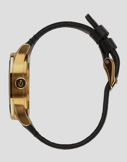 Nixon Sentry 38 Leather Watch - Gold/Black