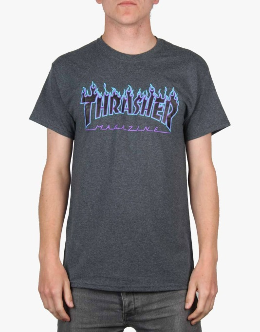 Thrasher Flame Logo T-Shirt - Grey/Blue/Purple