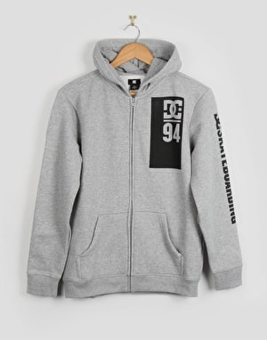 DC Rolling Boys Zip Hoodie - Heather Grey
