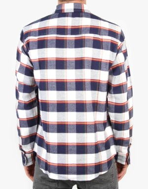 Enjoi Glad Plaid L/S Shirt - Navy/White