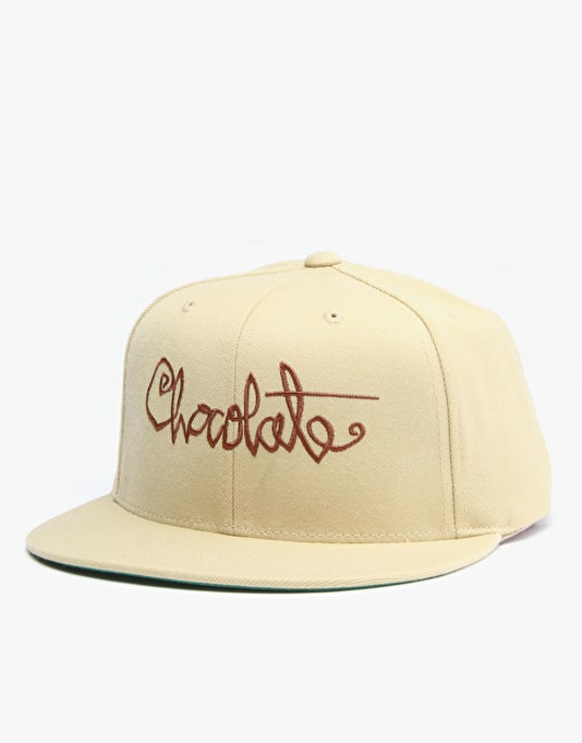 Chocolate Re-Script Snapback Cap - Beige