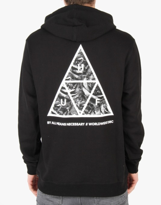 HUF Triple Triangle Rose Pullover Hoodie - Black