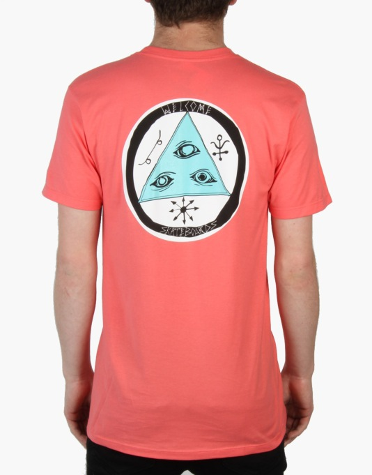 Welcome Talisman Tri-Colour T-Shirt - Coral/Teal/White