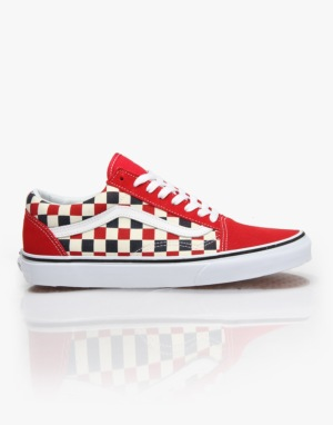 Vans Old Skool Skate Shoes - (Golden Coast) Red/Blue/Check