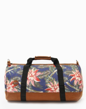 Mi-Pac Palm Floral Duffel Bag - Navy