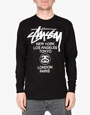 Stüssy World Tour L/S T-Shirt - Black