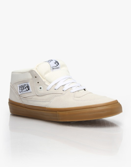 Vans Half Cab Pro Skate Shoes - White/Gum