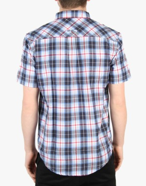 Route One Short Sleeve Checked Shirt - Small Navy Check