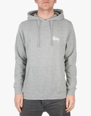 Stüssy Basic Logo Hoodie - Grey Heather
