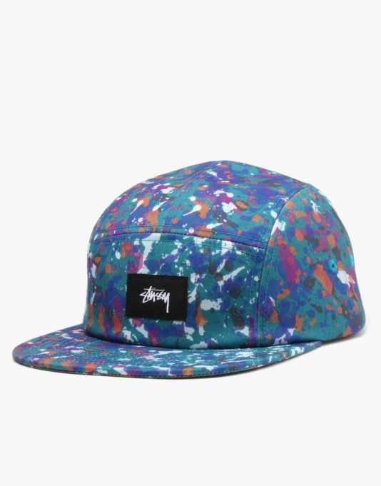 Stüssy Splatter Camp 5 Panel Cap - Mint