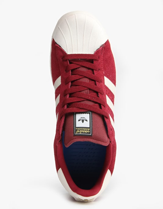 Adidas Superstar Vulc ADV Skate Shoes - Burgundy/White/Burgundy