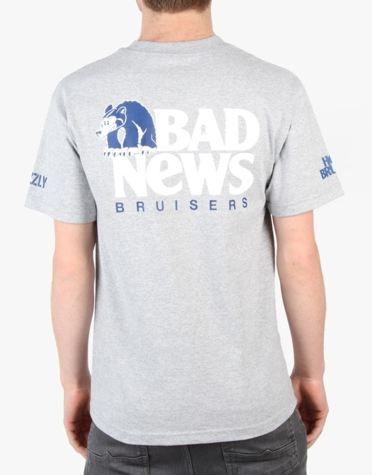 Grizzly x Heel Bruise Bad News Bruisers Pocket T-Shirt - Heather Grey