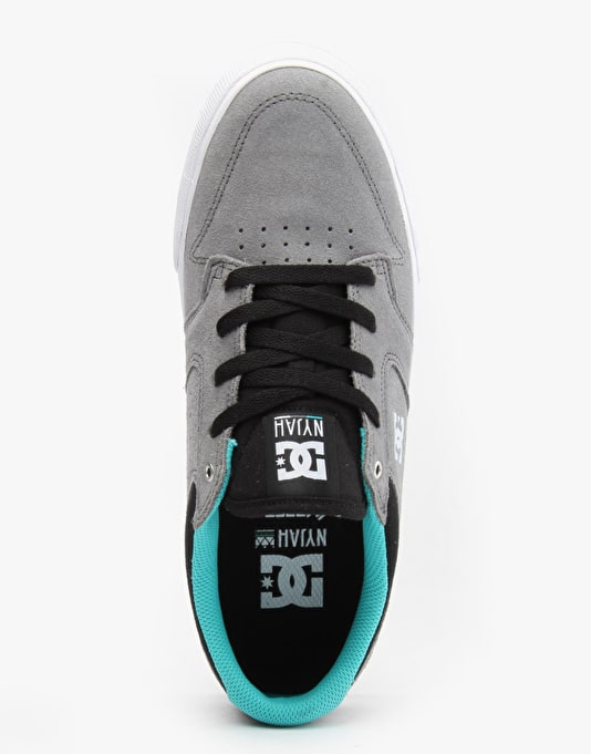 DC Nyjah Vulc Skate Shoes - Grey/Black/Green