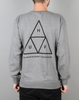 HUF Triple Triangle Crewneck Sweatshirt - Heather Grey