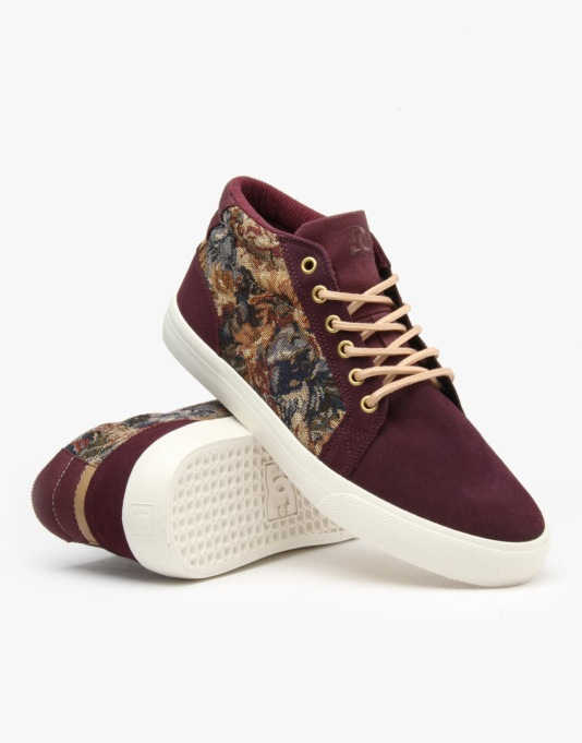 DC Council Mid SE Skate Shoes - Wine/Stone