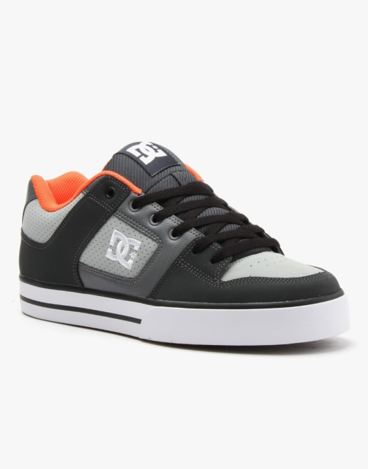 DC Pure Skate Shoes - Grey/Orange/Grey