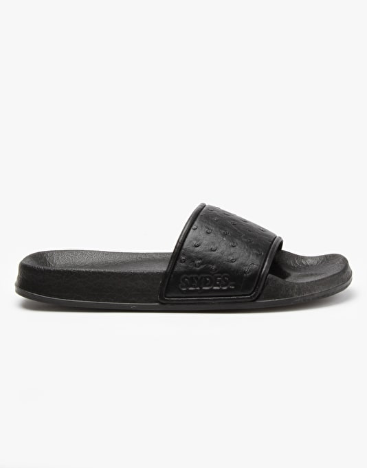 Slydes Gordon Sandals - Black Deboss Ostrich
