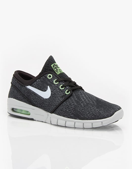 Nike SB Stefan Janoski Max Skate Shoes - Black/Wolf Grey/Flash Lime