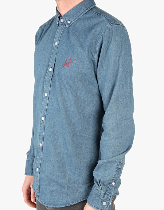 HUF Script Denim Shirt - Blue