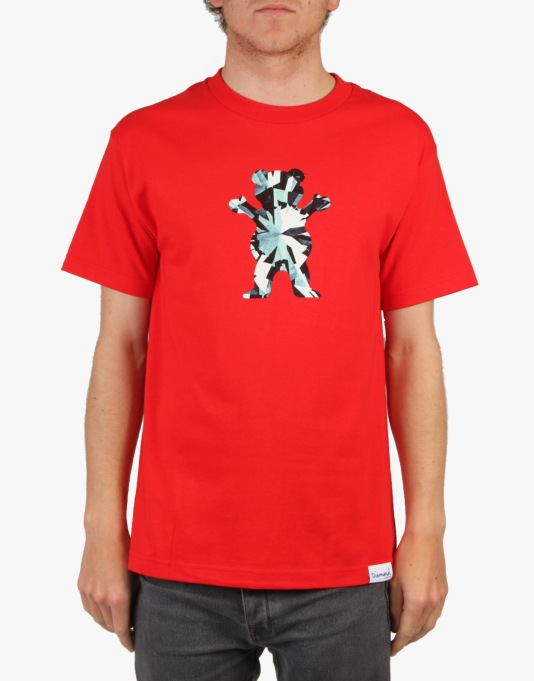 Grizzly Simplicity Bear Grizzly x Diamond T-Shirt - Red