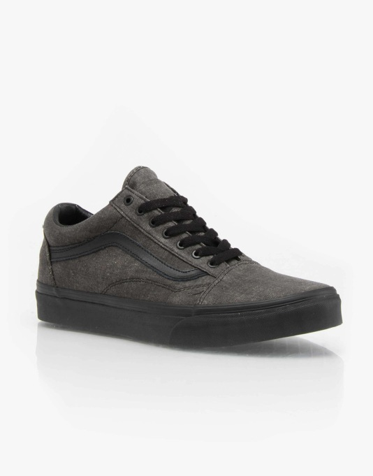 Vans Old Skool Skate Shoes - (Washed) Black/Black