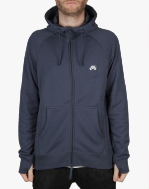 Nike SB Everett Graphic Full Zip Hoodie - Squadron Blue/White