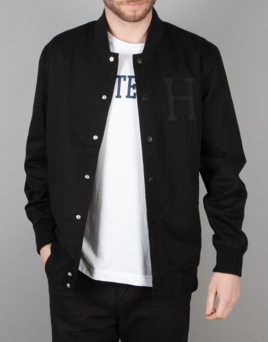 HUF x Thrasher Baseball Jacket - Black