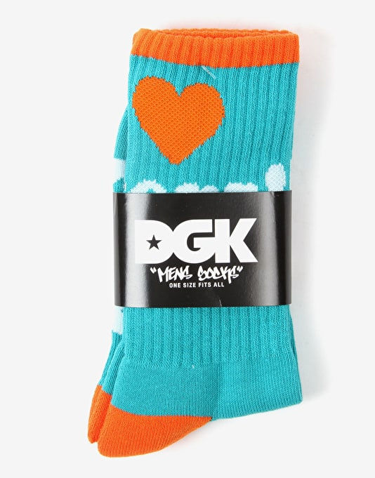DGK Haters Crew Socks - Teal/Orange